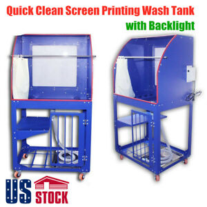 Usa Silk Screen Printing Wash Tank Rinse Sink Washout Booth With Backlight