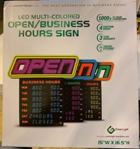 Green Light Innovations Led Business Hours Open Sign Free Shipping