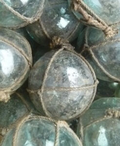 Japanese Glass Fishing Floats 2 Lot 15 Dirty Netted Rust Tar Industrial Grubby