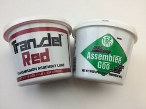Two Tubs Of Transjel Lubegard Transmission Assembly Lube One Red And One Green