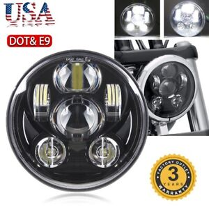 Dot 5 3 4 5 75 Chrome 80w Led Headlight Motorcycle Projector For Harley Dyna