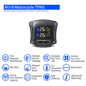 Wireless Motorcycle Tpms Tire Pressure Monitor System W 2pcs Tyre Sensor Ma1713