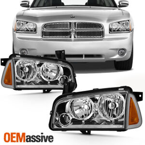 For 2006 2010 Dodge Charger Chrome Halogen Headlights Driver Passenger Pair