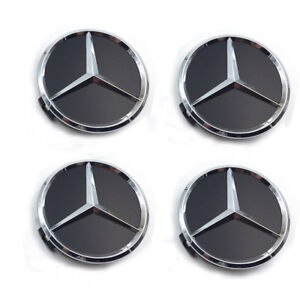 4x75mm Wheel Center Hub Caps Logo Badge Emblem Sticker For Mercedes Benz Black