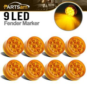 8x 2 round 9led Clearance Trailer Rv Marker Signal Turn Yellow Light W Reflector