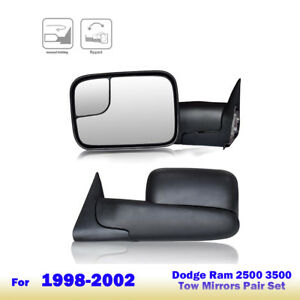Towing Side View Mirrors Fit 1998 2001 Dodge Ram 1500 98 02 Dodge Ram 2500 3500