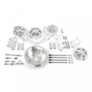 Bbc 454 Polished Aluminum Short Water Pump Serpentine Engine Pulley Set