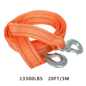 Heavy duty 6 Tons 2 X 20 Car Tow Rope Cable Towing Strap With Hooks Emergency