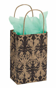 100 Paper Shopping Bags Distressed Damask 5 X 3 X 8 Small Black Tan