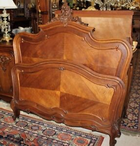 Antique French Walnut Louis Xv Full Or Queen Size Bed Bedroom Furniture
