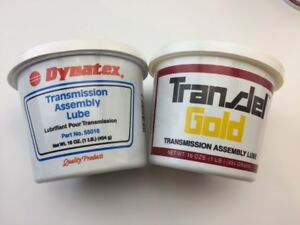 Two Tubs Of Dynatex Transjel Transmission Assembly Lube One Blue And One Gold