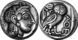 Athena And Owl Goddess Of Wisdom Mark Of Athena Greek Coin Greek Mythology 12 S