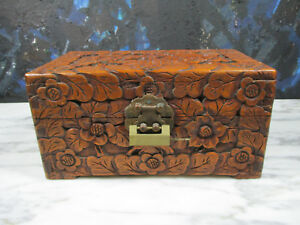 Antique Chinese Carved Wood Stash Box Jewelry Chest Hollywood Regency Lock