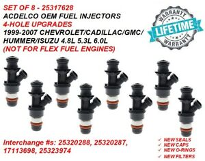 Acdelco Fuel Injectors 4 hole Upgrade 8x For 99 07 Chevy caddy gmc 4 8 5 3 6 0l