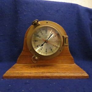 Bell Clock Co Nautical Porthole Quartz Ships Mantle Clock Exc Working Cond