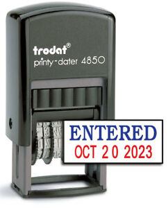 Trodat 4850 Date Stamp With entered Self Inking Stamp Blue red Ink
