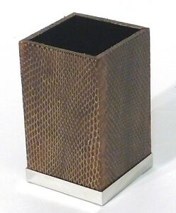 Gail Deloach Genuine Brown Snakeskin Amenity Cup Or Pencil Holder 3 w X 3 d X 5