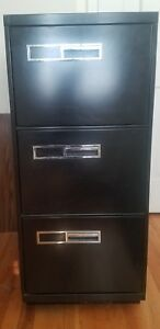 Black Metal 3 drawer Vertical Legal Size Filing Cabinet Great For Home Office
