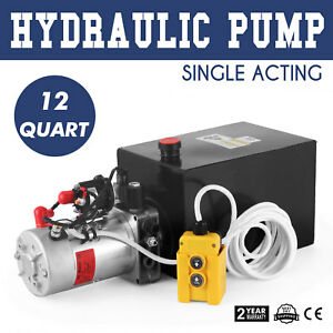 Hydraulic Pump Single Acting 12 Quart Reservoir Tank Dump Trailer Power Unit