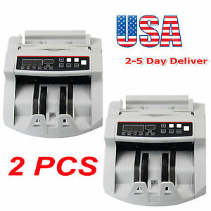 2pcs Bill Money Counter Counting Machine Uv mg Counterfeit Automatic Detector Us
