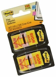 Post it Message Flags Value Pack sign Here Yellow 1 In Wide 50 dispense