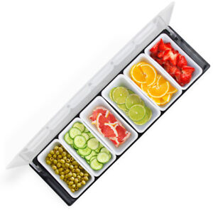Portable Food Toppings Sides Condiments Serving Station Salad Bar 19 W 6 Trays