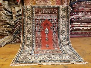 Beautiful Vintage 1950 1960 S Natural Dye 2 9 4 3 Wool Pile Prayer Rug