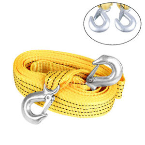 Heavy Duty 3tons 10ft Tow Winch Strap Towing Rope Cable For Emergency Recovery