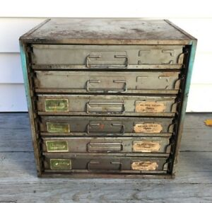 Vtg 6 Drawer Small Part Metal Cabinet Organizer Storage Automotive Industrial