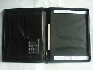 A4 Document Wallet Leather Conference Folder Zipped Calculator Christmas Gifts