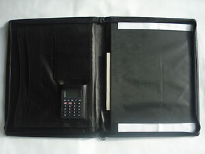 A4 Document Wallet Leather Conference Folder Zipped Calculator Handcrafted Sale