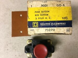 Square D 9001 Go 8 Red Push Button Switch nib