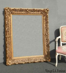 Large 52 Tall Vintage French Provincial Ornate Gold Floral Design Picture Frame