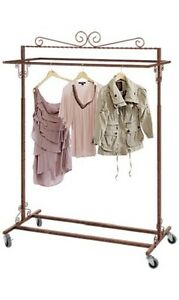 Clothing Rack Boutique Double Bar Rail Rolling Salesman Retail Bronze 48 72 H