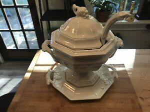White Redcliff Ironstone China Soup Tureen Grapes