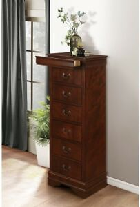 Wooden Lingerie Chest With Hidden Drawer Cherry Brown