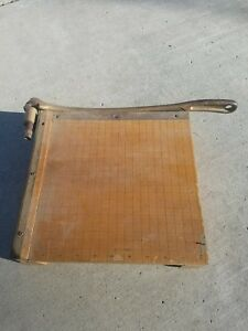 Vintage Ingento No 3 10 X 10 Wood Paper Cutter Guillotine Metal Arm