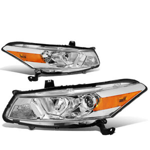 For 2008 2012 Honda Accord 2dr Coupe Projector Headlight Head Lamp Chrome amber