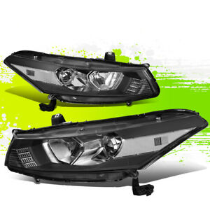 For 08 12 Honda Accord Coupe Pair Projector Headlight Lamp 09 10 11 Black clear