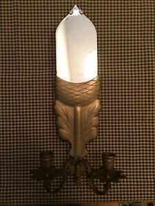 Vintage Chapman Acorn Mirror Candle Holder Wall Sconce Brass Home Decor