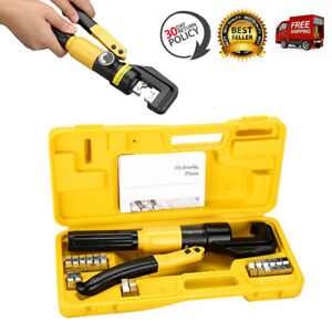 10 Ton Hydraulic Crimper Crimping Tool Plier Wire Cable Battery Terminal Cutter