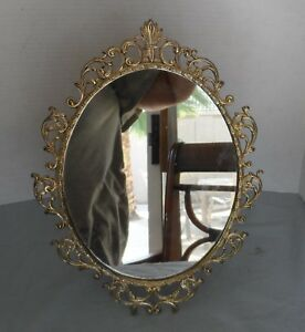Vintage Ornate Mirror Which Stands With An Easel Back