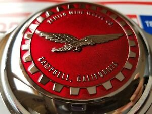 Zenith Campbell Califonia Wire Wheel 2 5 Metal Chip Emblems Candy Red Crhome