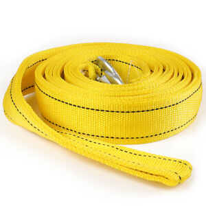 20 000 Lb Capacity 2 X 20 Car Tow Rope Cable Towing Strap W Hooks 2 Layer
