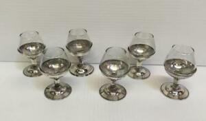 6 Pc Set Of Sterling Silver Glass Inserts Cordials Shot Glasses Taxco
