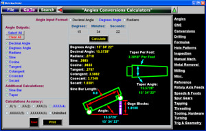 Angles Conversions Calculators Software Plate Block Cutter Chamfer Mill Drill