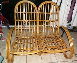 Rare Design Paul Frankl Style Mid Century Vintage Rattan Loveseat Sofa Couch