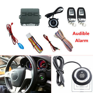 Car Alarm System Security Push Button Remote Engine Start led Sensor Light Handy