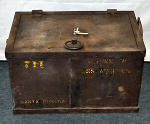 Antique Strong Box Los Angeles Santa Monica Industrial Trunk Coffee Table Old