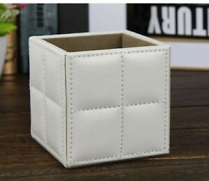 Square Stitching Pu Leather Desk Pen Pencil Holder Case Stationery Organizer